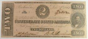 1862 $2 Confederate States America Note T-54 #42302 Ch,