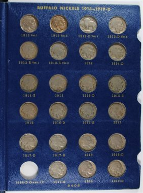 Complete Set Of Buffalo Nickels 1913-1938 Nice Circ Set