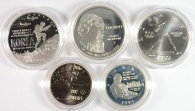 Olympics 2 Coin Bu Set; 1991 Korean Proof Silver Dollar;