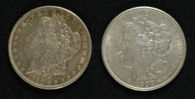 2 - Morgan Silver Dollars - 1890 & 1900, Circ