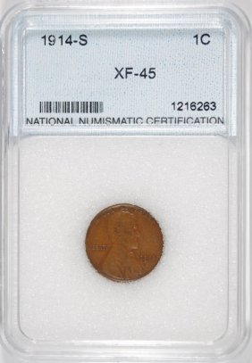 1914-s Lincoln Cent, Nnc Graded Xf/au