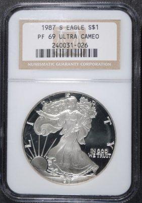 1987-s American Silver Eagle Ngc Pf 69 Ultra Cameo