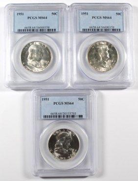 ( 3 ) 1951 Franklin Half Dollars, Pcgs, Ms-64