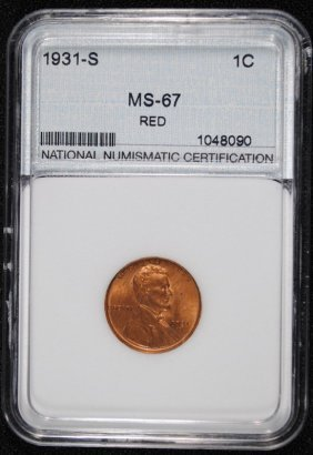 1931-s Lincoln Cent, Nnc Graded Gem Bu Red+ Key Coin!