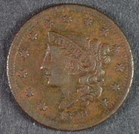 1838 Large Cent Xf Details Porosity
