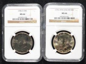 1976 Silver & 1986-d Kennedy Half Dollars, Ngc Ms-66