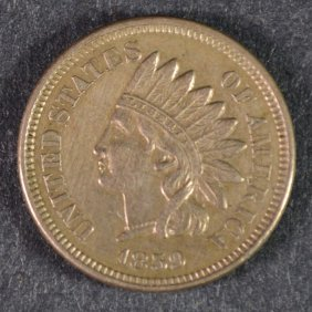 1859 Indian One Cent Au Nice Type Coin