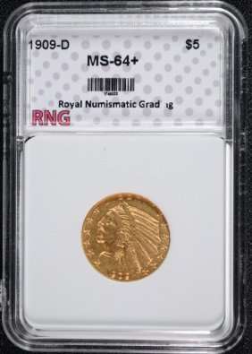 1909-d $5 Gold Indian Head Half Eagle Rng Ch Bu+