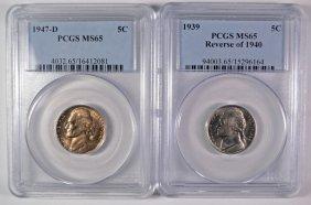 2 - Jefferson Nickels 1939 Rev. Of 40, 47-d Pcgs Ms-65