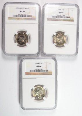 Ngc Graded Ms-66 Jefferson Nickels: 1939 Reverse Of