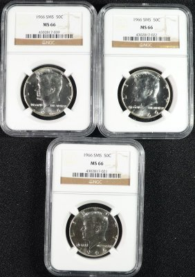 ( 3 ) 1966 Sms Kennedy Half Dollars, Ngc Ms-66