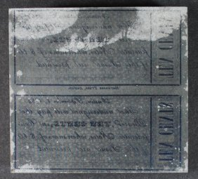 Texas Confederate Printing Block That Produced ( 2 )