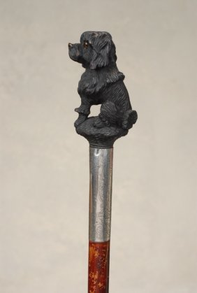 A Very Nice Wood Cane Of A Poodle