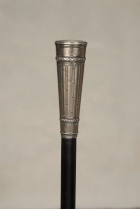 A Very Nice French Fancy Silver Cane With Guilloche
