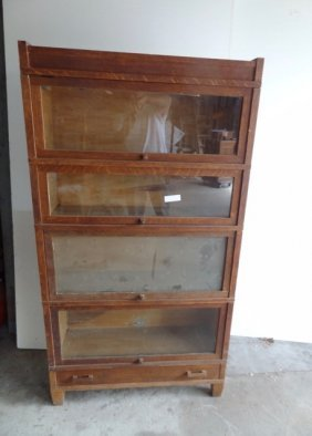 4 High Oak Stacking Mission Bookcase
