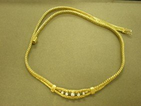 "Gold And Diamond Necklace. 18K Yg (marked), 17"" Le"