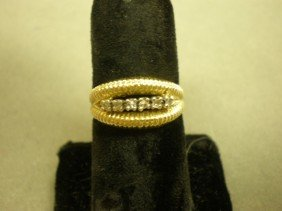 Diamond Band. 14K Yg (tested) With Center In-line