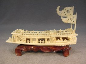 Chinese Carved Ivory Boat