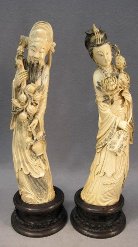 Chinese Large Pair Of Carved Ivory Figures