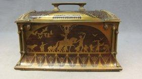 Art Craft Bronze & Wood Box