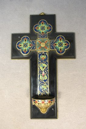 Bronze Champleve & Marble Cross, Barbedienne