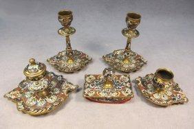 Bronze Champleve Desk Set Of 5 Pcs