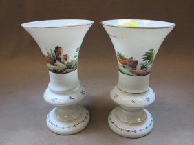 French Pair Of Painted Opaline Vases