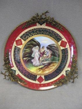 Big Royal Vienna Porcelain & Bronze Plate