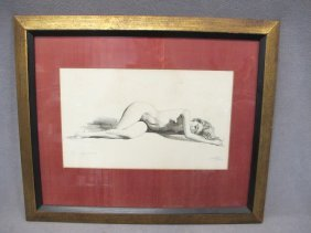 European Nude Print, Signed