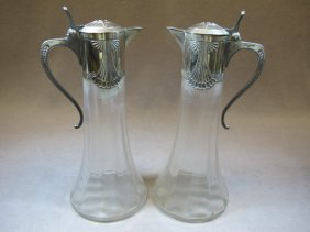 Pair Of WMF Silver-plate & Glass Jugs