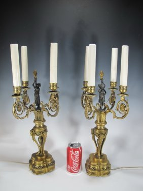 19th C Pair Of French Bronze Champleve Candelabras