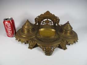 Antique French Bronze & Glass Inkwell