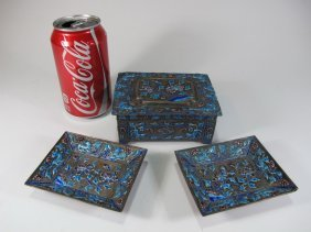 Antique Chinese Silverplate & Enamel Pair Of Trays &