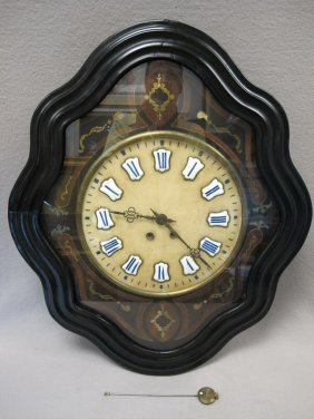 French Alabaster & Bronze Inlaid Wall Clock