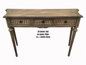 French Louis Xvi Style Patinated Walnut Console Table