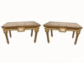 Palatial Huge Antique Italian Pair Of Gilt Console