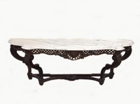 Huge French Louis Xv Wood & Marble Console Table