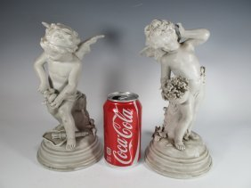 Antique Pair Of European Porcelain Cherubs