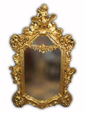 Late 19th C Rococo Style Large Carved Giltwood Mirror