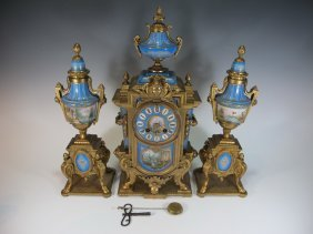 Antique French Japy Freres Porcelain & Spelter Clock