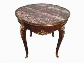 French Signed Linke Ormolu & Marble Round Table
