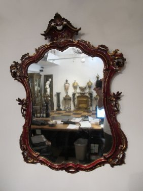 Antique Venetian Carved Wood Mirror
