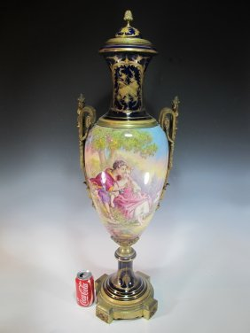 Antique French Sevres Porcelain & Bronze Urn
