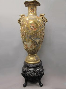Antique Huge Japanese Satsuma Porcelain Vase