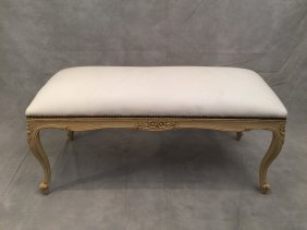French Louis Xv Style White Patinated Bench