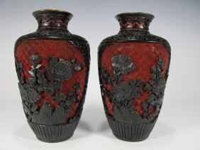 Pair Of Chinese Carved Cinnabar Vases