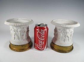 Antique French Pair Of Bisque & Bronze Vases