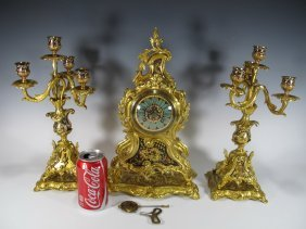 Antique French Japy Freres Bronze Cloisonne Clock Set