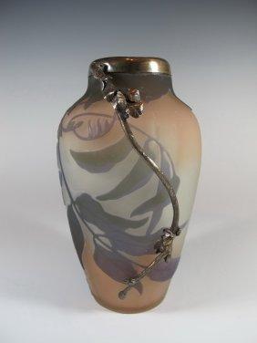 Émile GallÉ (1846-1904) Silver & Glass Vase