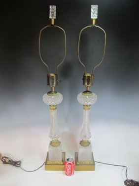 Antique French Pair Of Glass & Bronze Lamps